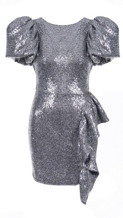 AGGI grey sequin mini dress with puff sleeves