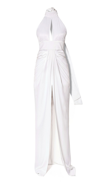Aggi white halter top keyhole gown with slit