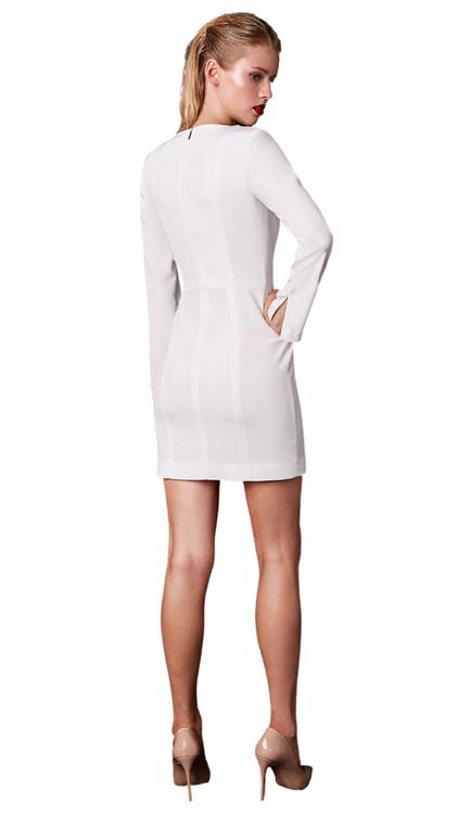 Nomi Fame White Ori Long Sleeve Mini Dress