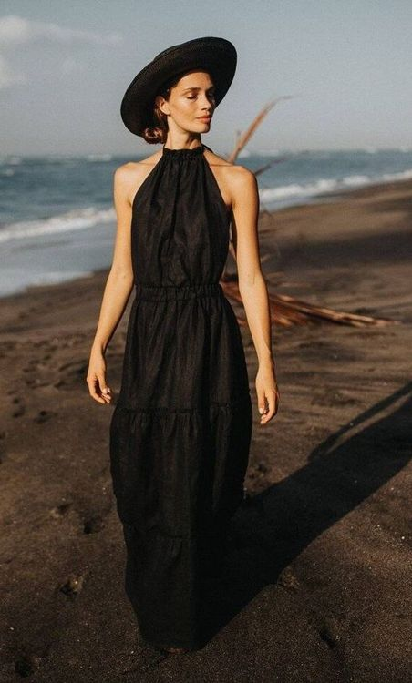 Black maxi halter top dress