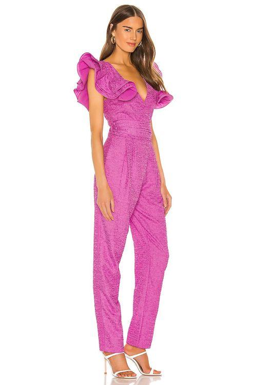 Retrofete pink frill jumpsuit
