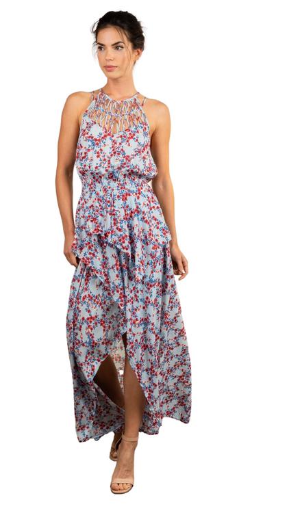 Poupette St Barth High low maxi floral dress