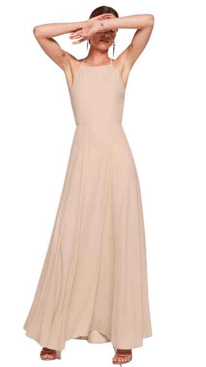 Reformation nude open back maxi dress