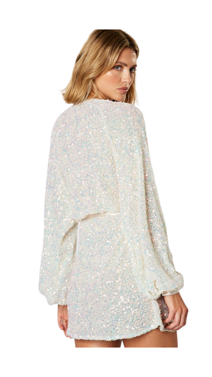 winona white sequin wrap dress