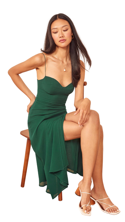Reformation green spaghetti strap midi dress with slit
