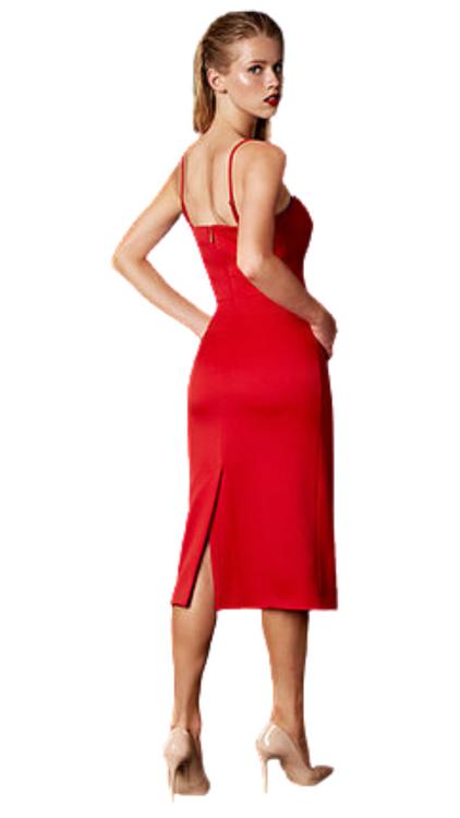 Nomi Fame red spaghetti strap midi dress