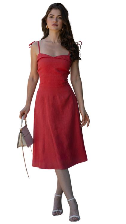 gaala red midi dress