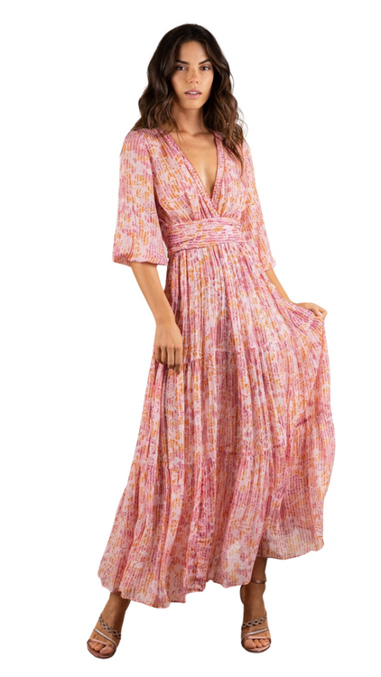 Poupette St Barth Long Pink Foral Dress