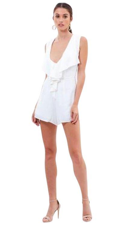 Winona frill white jumpsuit