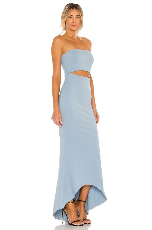 NBD blue strapless high-low gown
