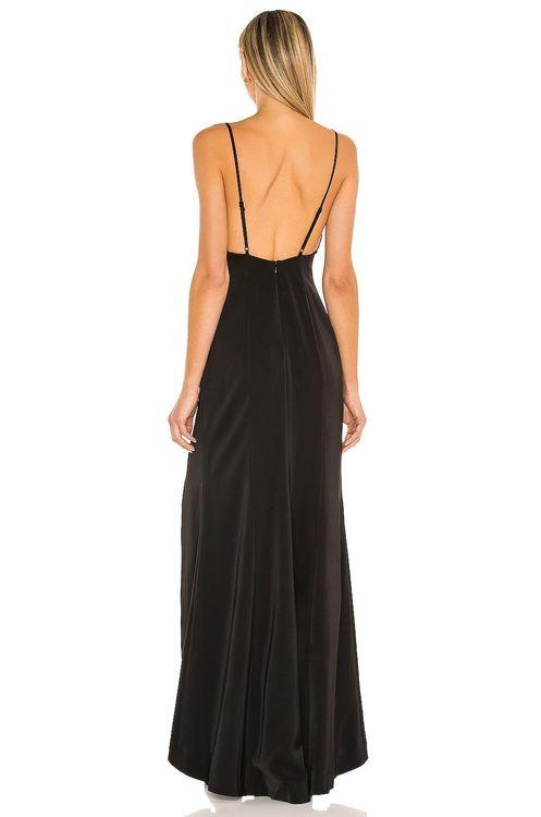 NBD black low cut gown