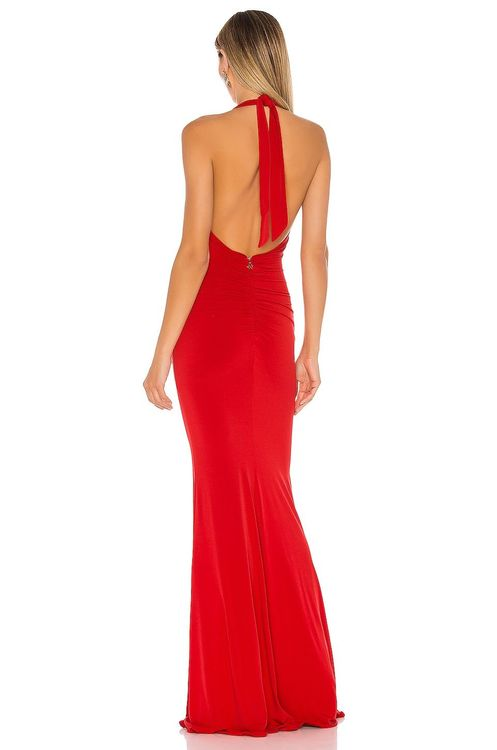 Nookie red halter low cut gown with front slit