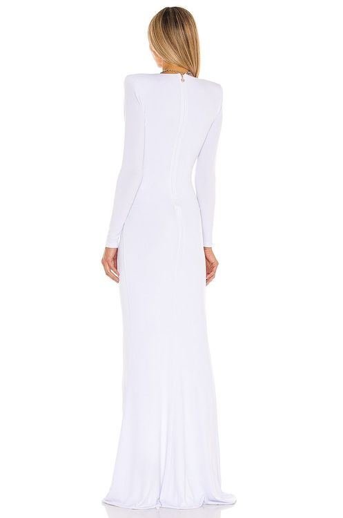 nookie white low v gown