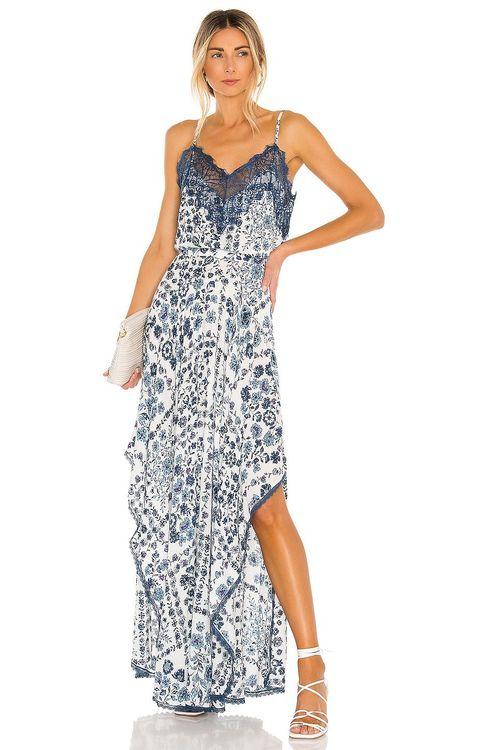 Poupette st barth Blue and white ruffle and lace maxi dress