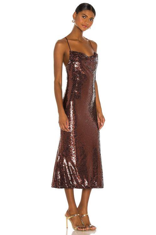Shona joy sequin cowl neck brown midi dress