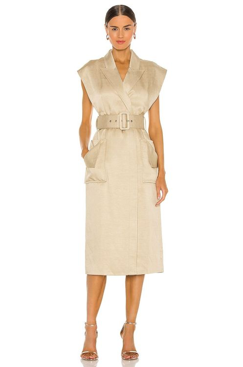 Shona Joy beige midi belted dress