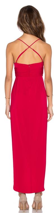 Shona Joy red plunged maxi dress