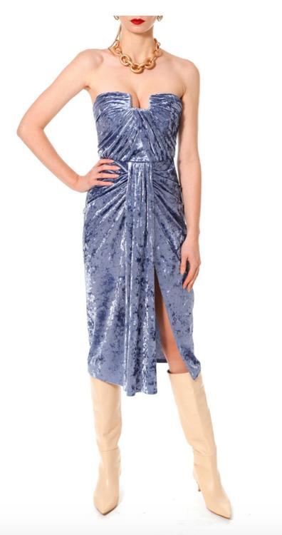 bella forget-me-not crushed velvet purple dress