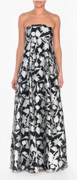 True Decadence Black Silver Jacquard Empire Line Dress