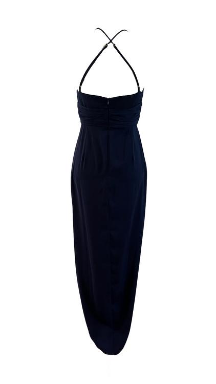 shona joy blue plunged maxi dress