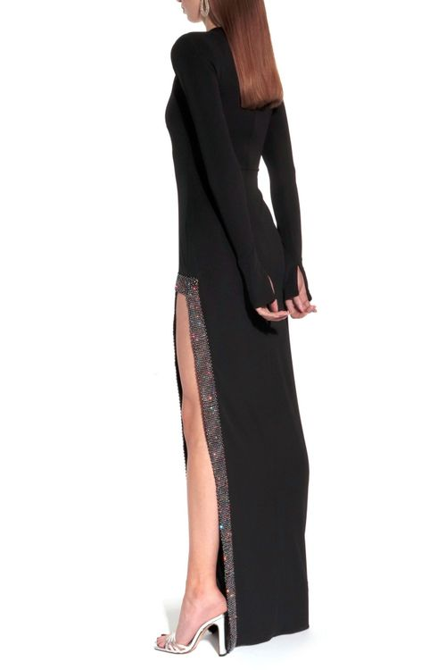 AGGI black long sleeve gown with sequin slit